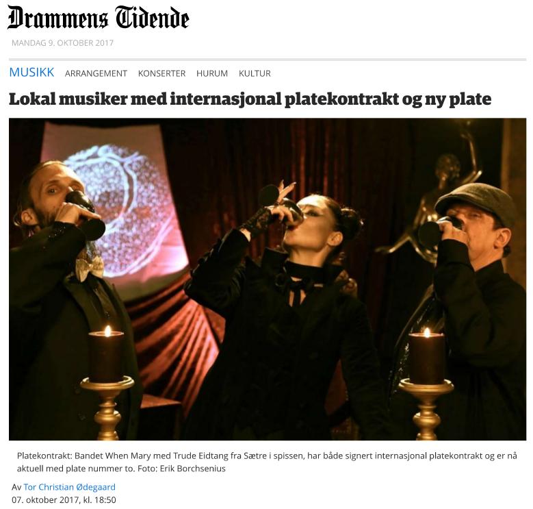 Drammens tidende artikkel frontpicture